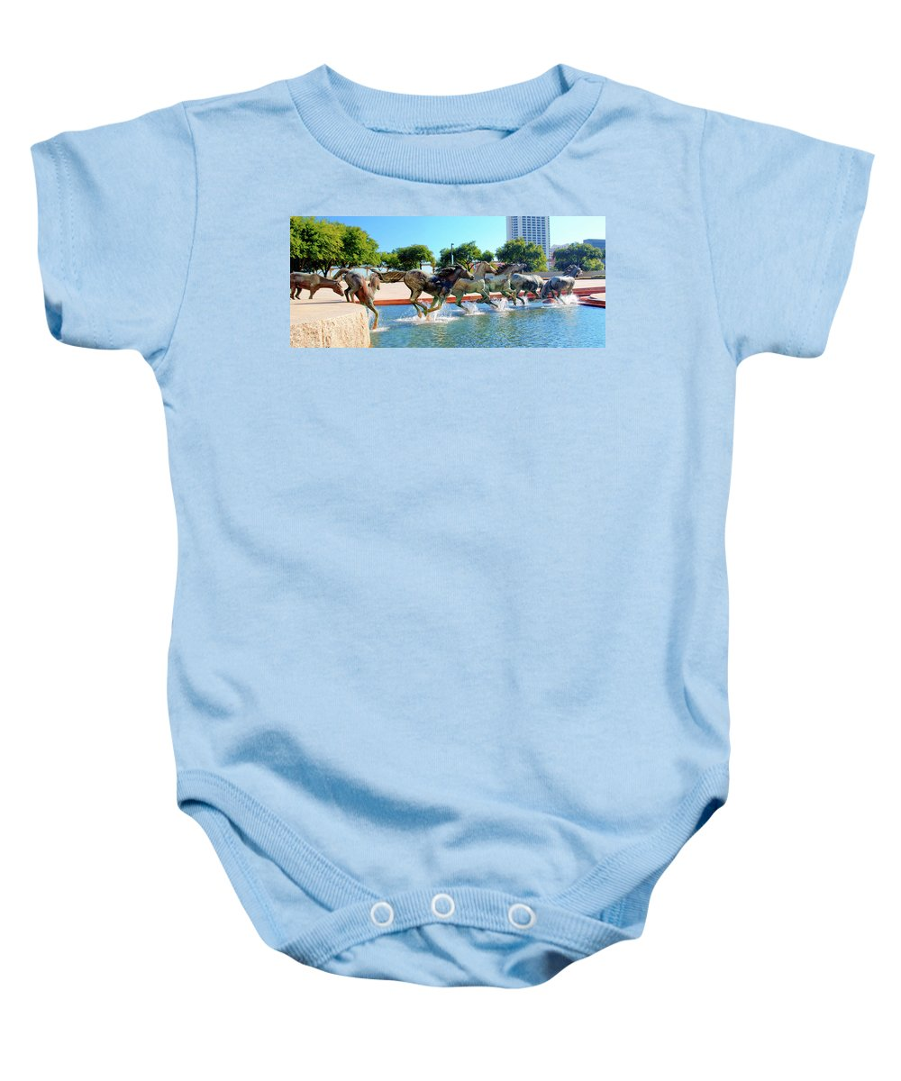 Sculptures Baby Onesie featuring the photograph Los Colinas Mustangs 14698 by Guy Whiteley