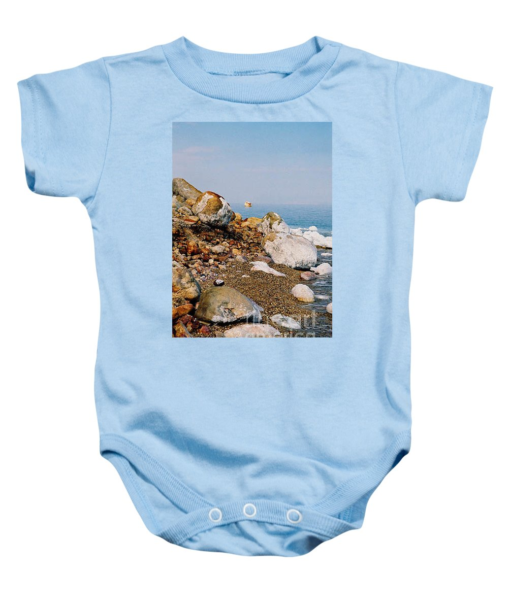 Dead Sea Baby Onesie featuring the photograph Lot's Wife by Kathy McClure