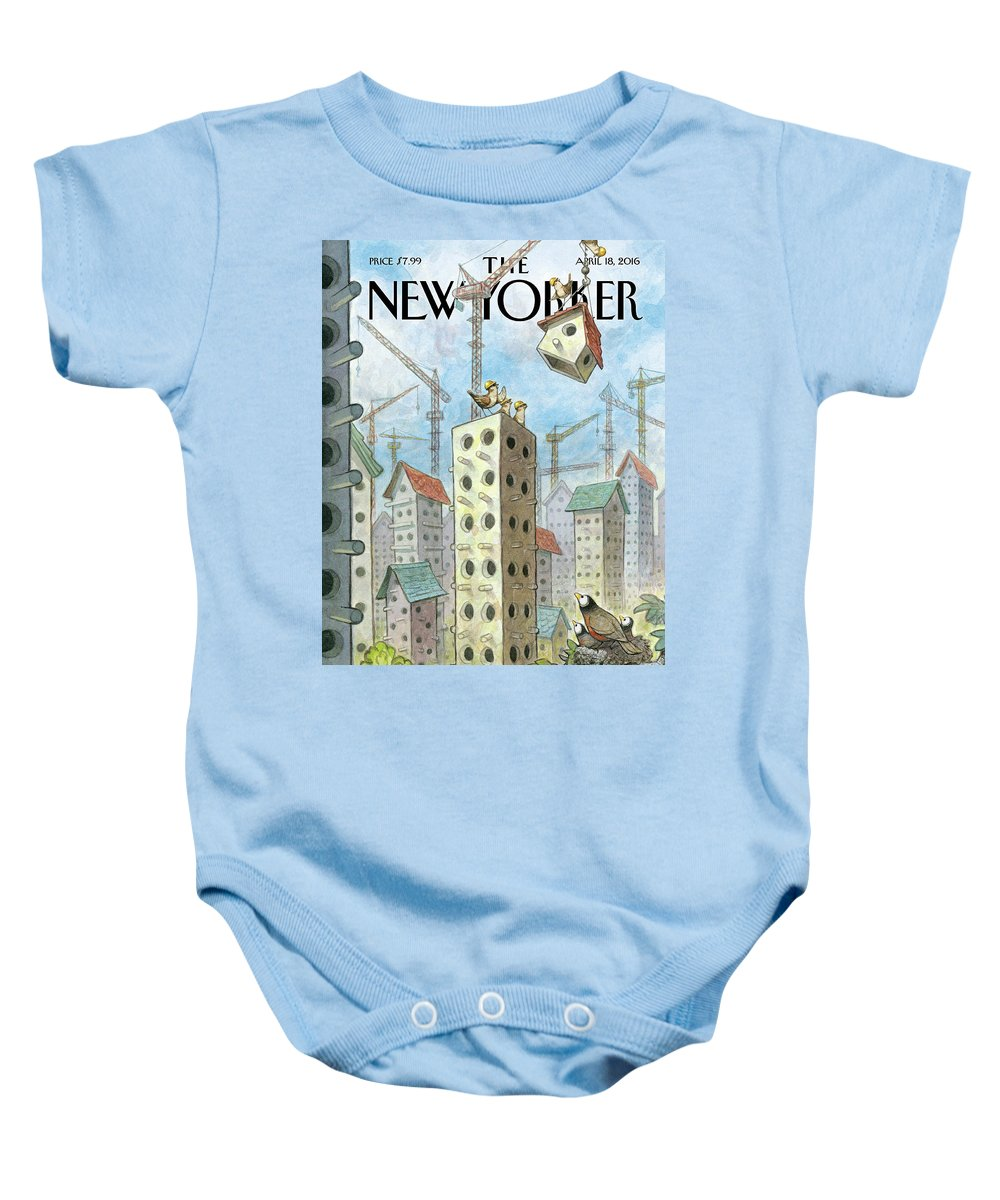 Co-op Baby Onesie featuring the painting Luxury Coops by Peter de Seve