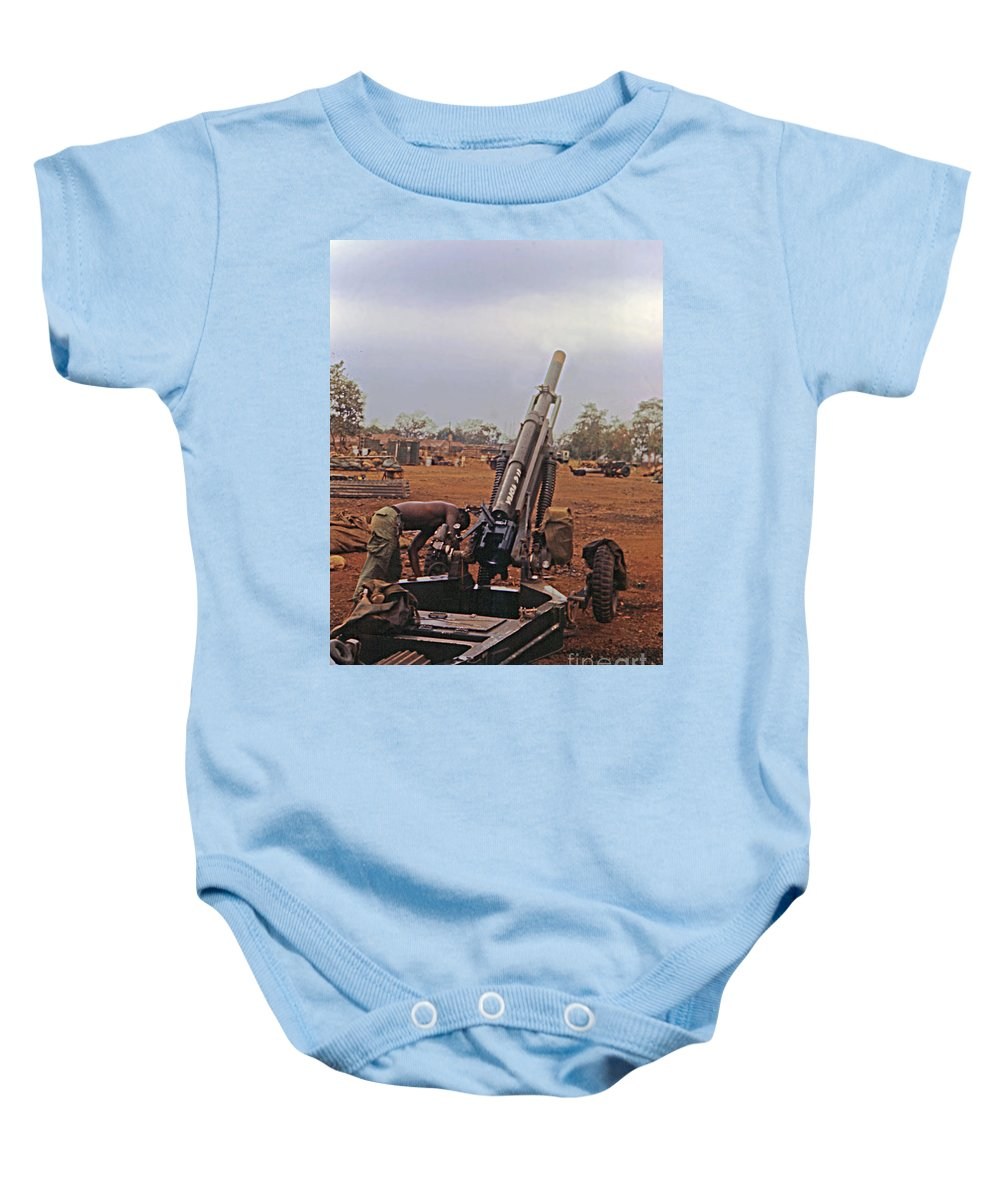 A Battery Baby Onesie featuring the photograph M102 105mm Light Towed Howitzer 2 9th Arty At Lz Oasis R Vietnam 1969 by California Views Archives Mr Pat Hathaway Archives