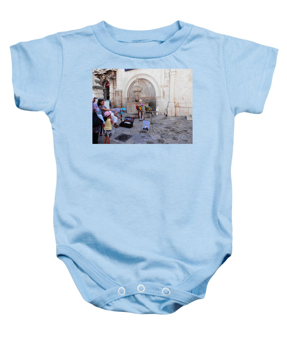 Macaw Baby Onesie featuring the photograph Macaws In Dubrovnik by Pema Hou