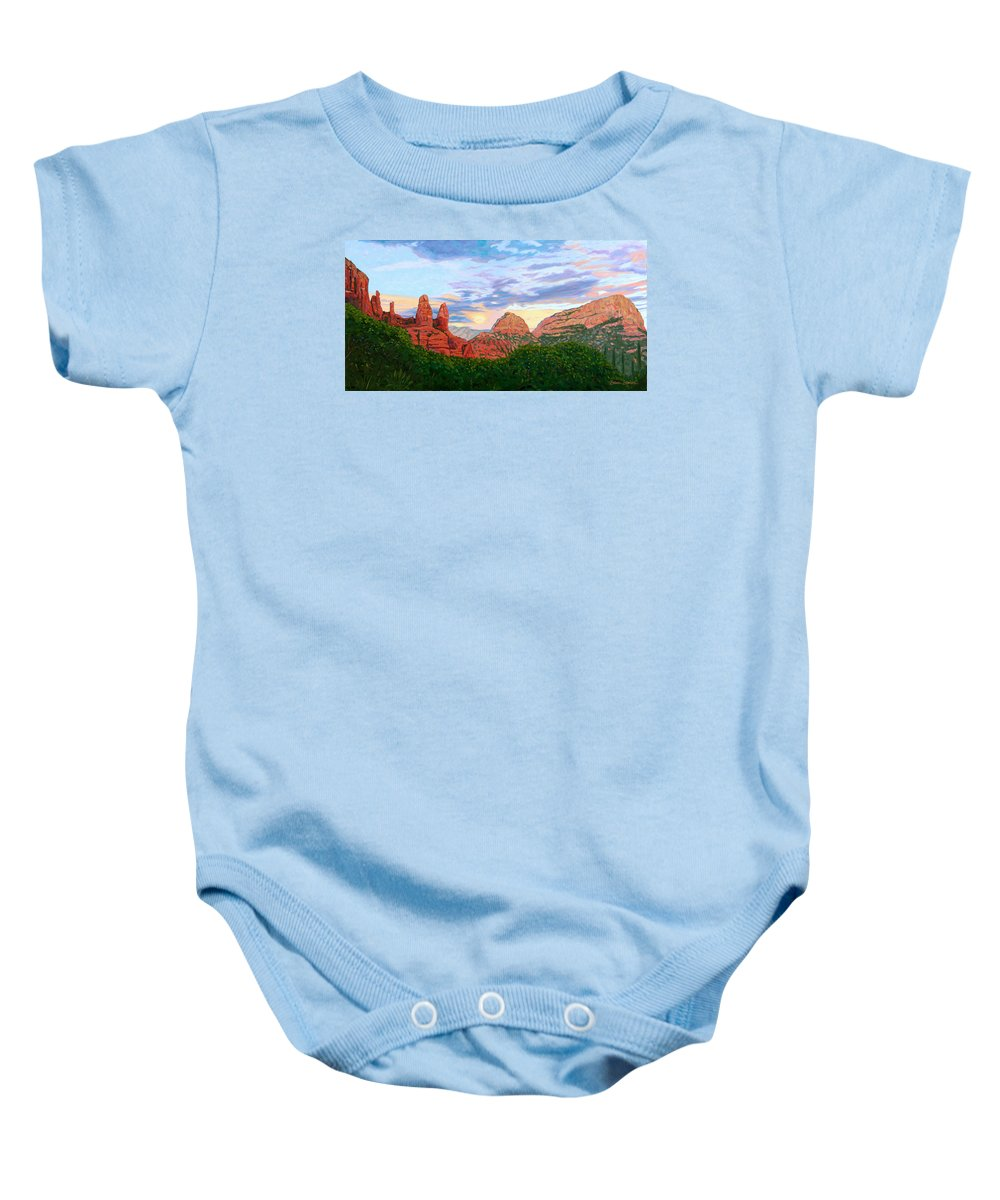 Madonna Baby Onesie featuring the painting Madonna And Nuns - Sedona by Steve Simon