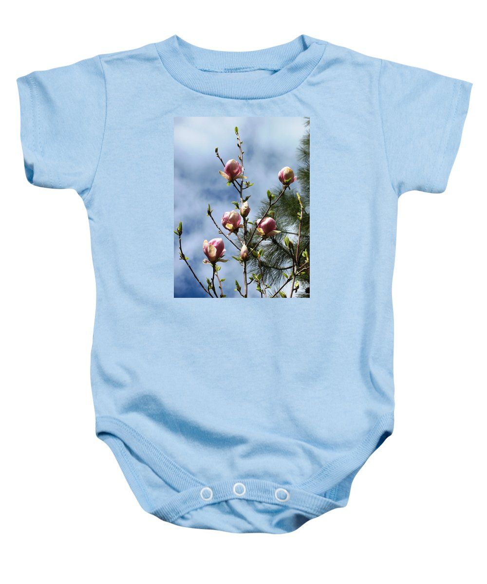 Magnolias Baby Onesie featuring the photograph Magnolias In Bud by Louise Adams