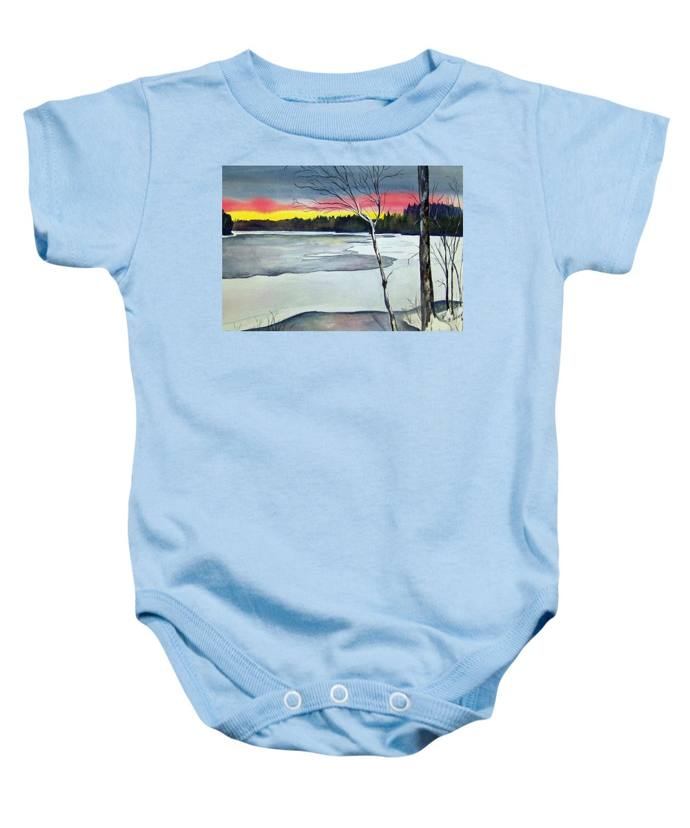Landscape Baby Onesie featuring the painting Maine Winter Sunset by Brenda Owen