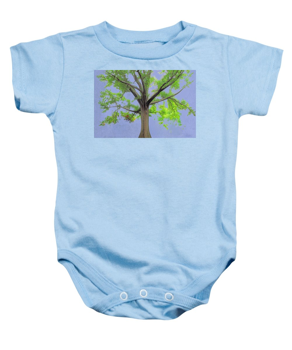 Painting Of Tree Baby Onesie featuring the painting Majestic Tree With Birds Nest by Susanna Katherine