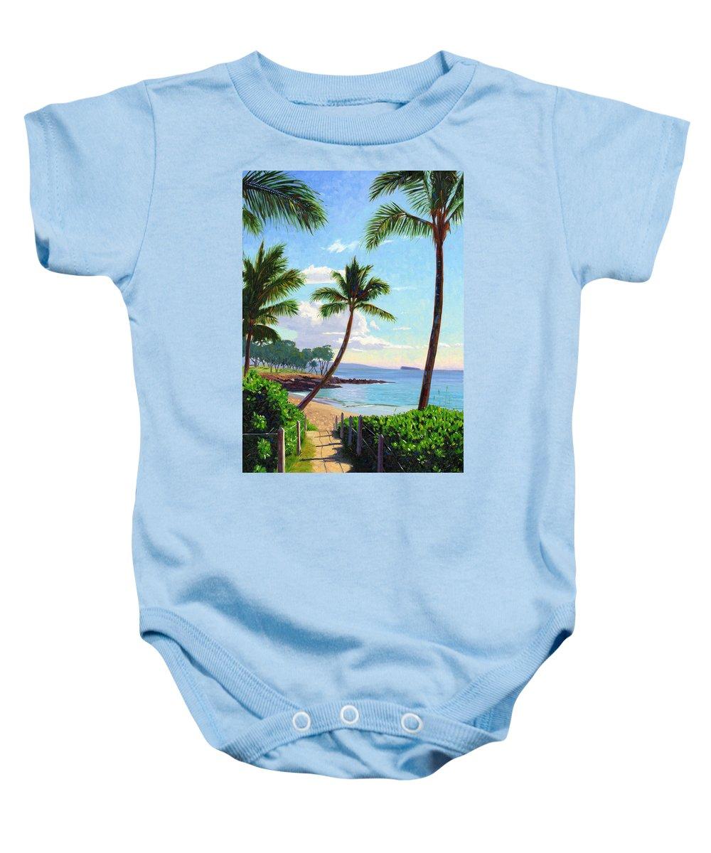 Makena Baby Onesie featuring the painting Makena Beach - Maui by Steve Simon