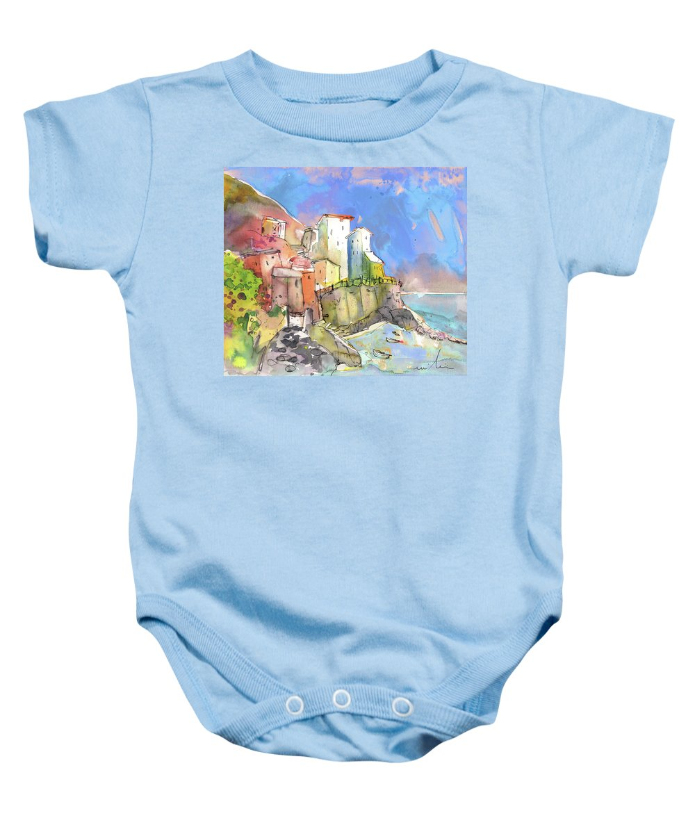 Italy Baby Onesie featuring the painting Manorola In Italy 05 by Miki De Goodaboom