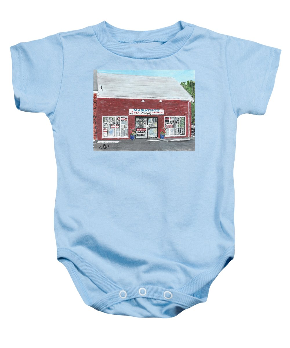 Food And Beverage Baby Onesie featuring the painting Marathon Deli by Cliff Wilson
