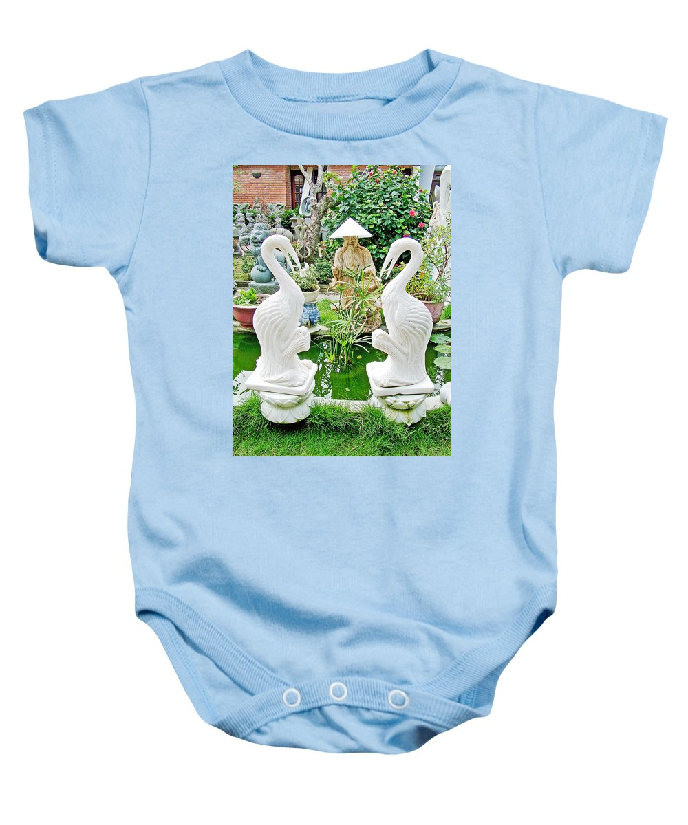 Marble Stork Sculptures In Xuat Anh- Baby Onesie featuring the photograph Marble Stork Sculptures In Xuat Anh-vietnam by Ruth Hager