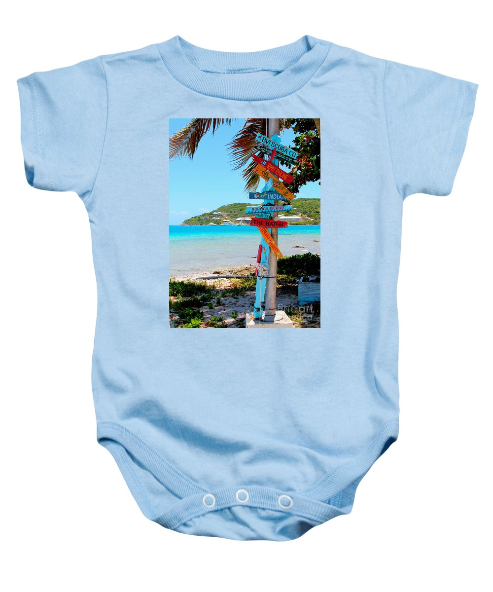 Baths Baby Onesie featuring the photograph Marina Cay Sign by Carey Chen