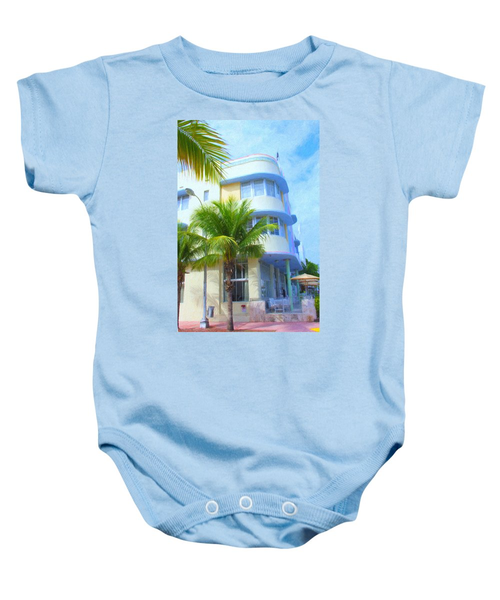 Art Deco Baby Onesie featuring the photograph Marlin Hotel Side View by Tom Reynen