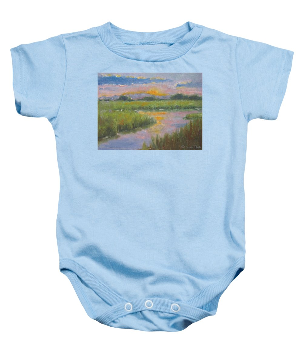 River Baby Onesie featuring the painting Marsh Light by Sarah Parks