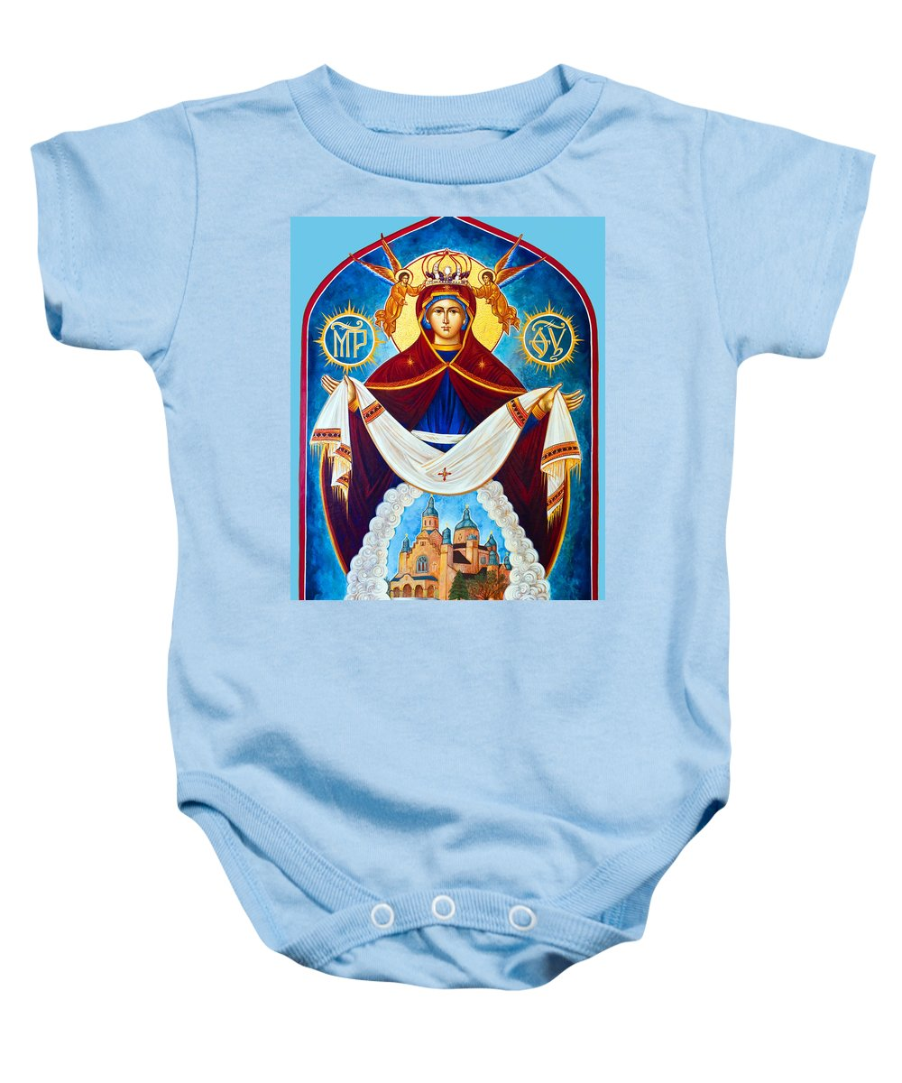 Orthodox Baby Onesie featuring the photograph Mary And The Holy Church by Munir Alawi