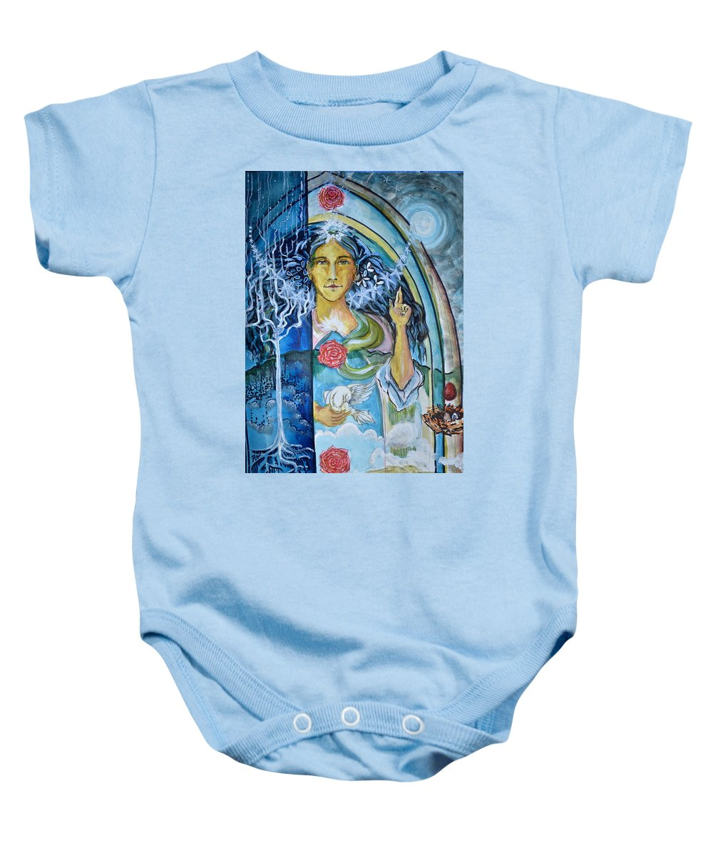 Sacred Baby Onesie featuring the painting Mary Magdalene Watercolor by Crystal Charlotte Easton