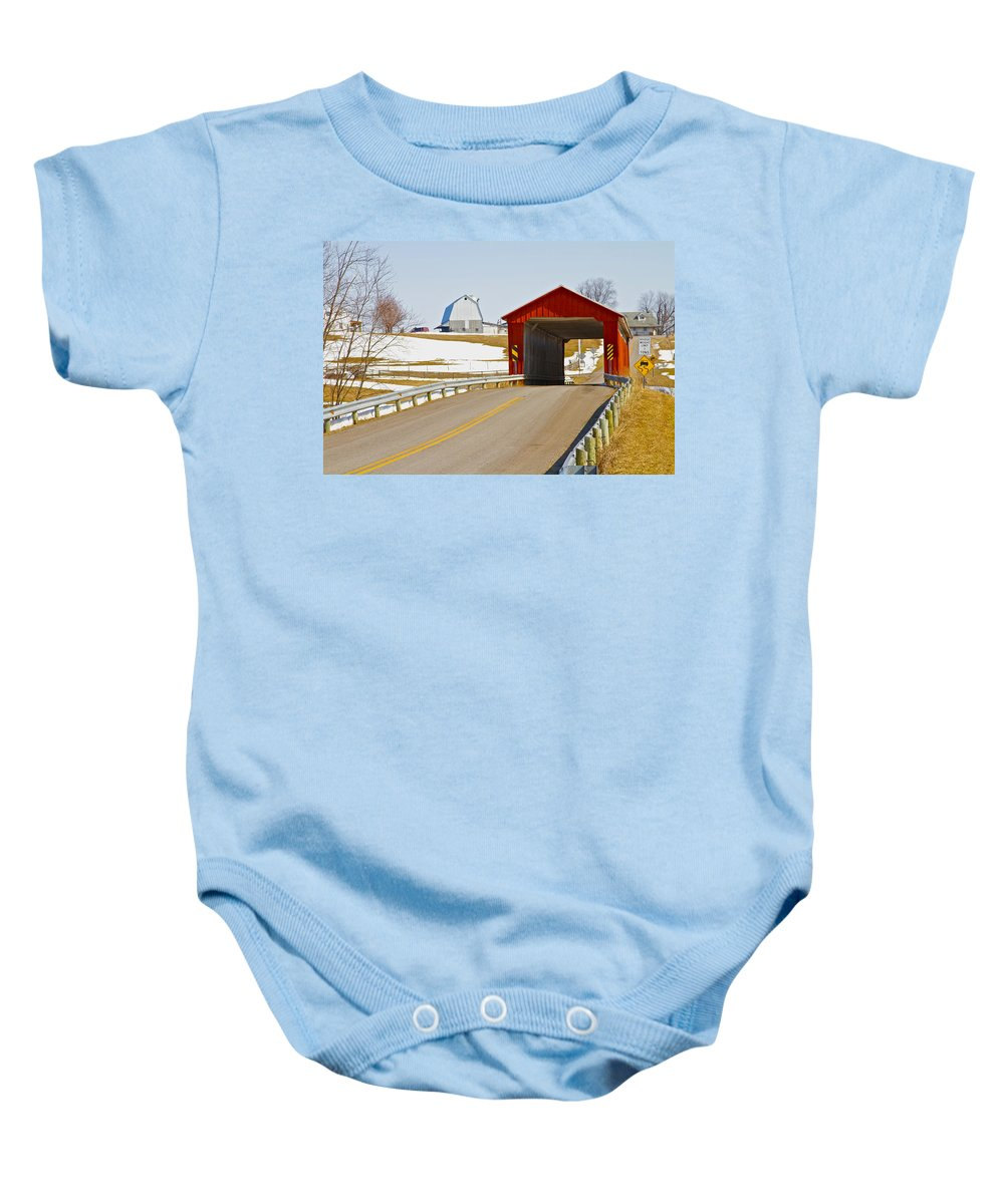 Ohio Baby Onesie featuring the photograph Mccolly Covered Bridge by Jack R Perry