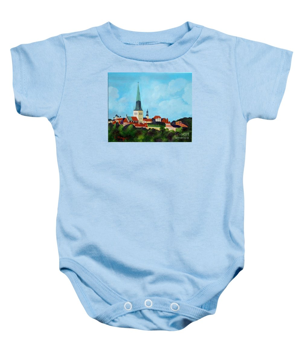 Tallinn Baby Onesie featuring the painting Medieval Tallinn by Laurie Morgan
