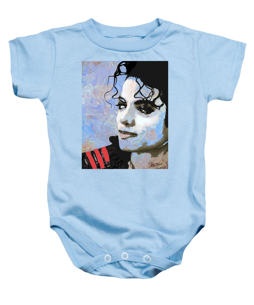 Michael Jackson Baby Onesie featuring the digital art Michael Jackson Blue And White by Linda Mears