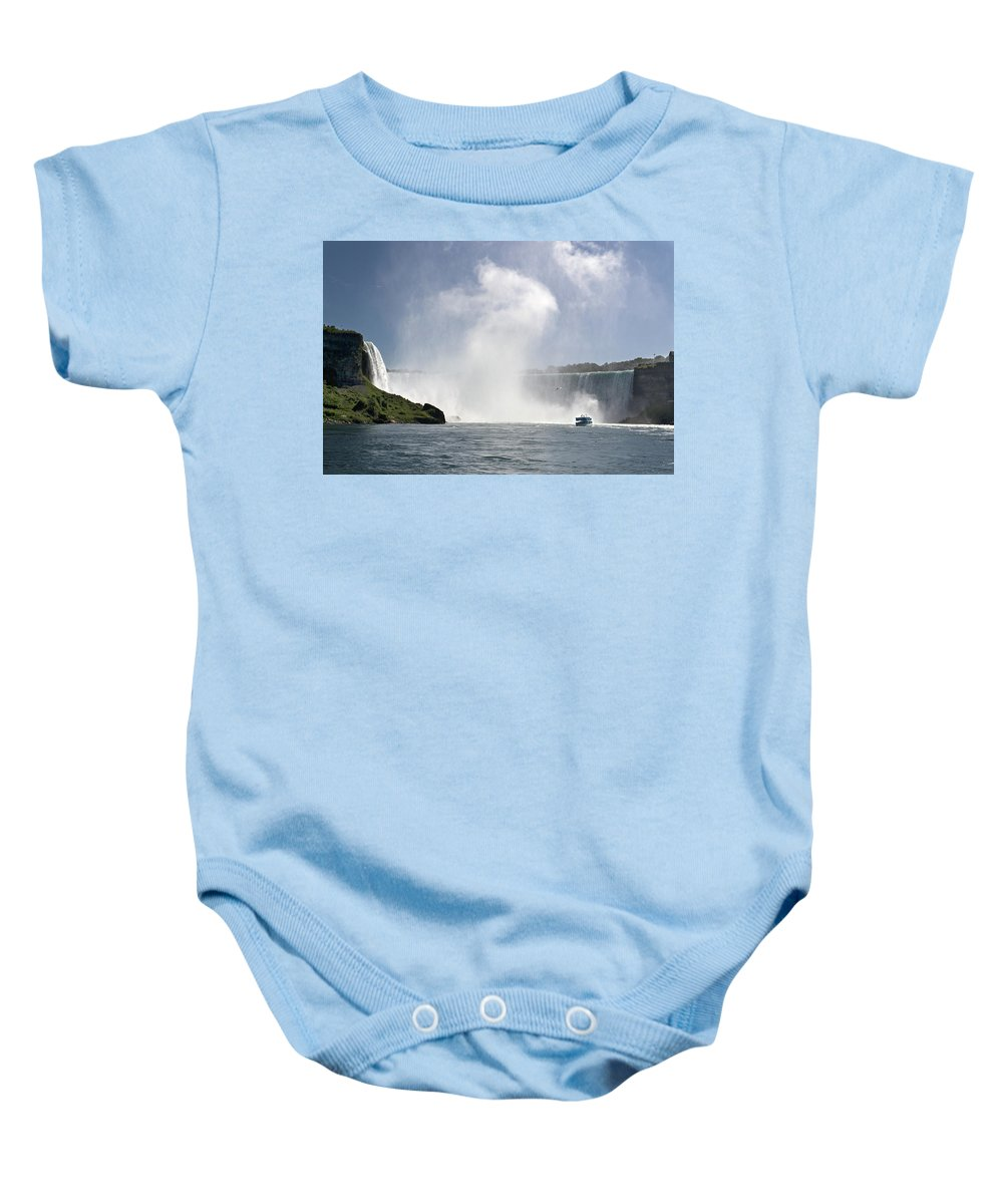 Niagara Baby Onesie featuring the photograph Mid Of The Mist - Almost There by Jatinkumar Thakkar
