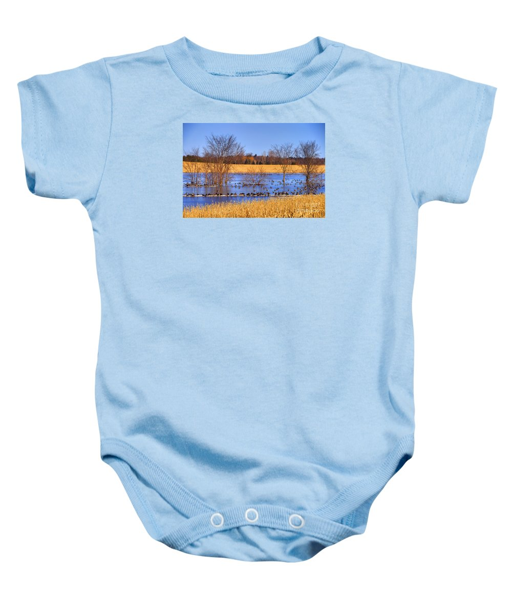 Festblues Baby Onesie featuring the photograph Migration.. by Nina Stavlund