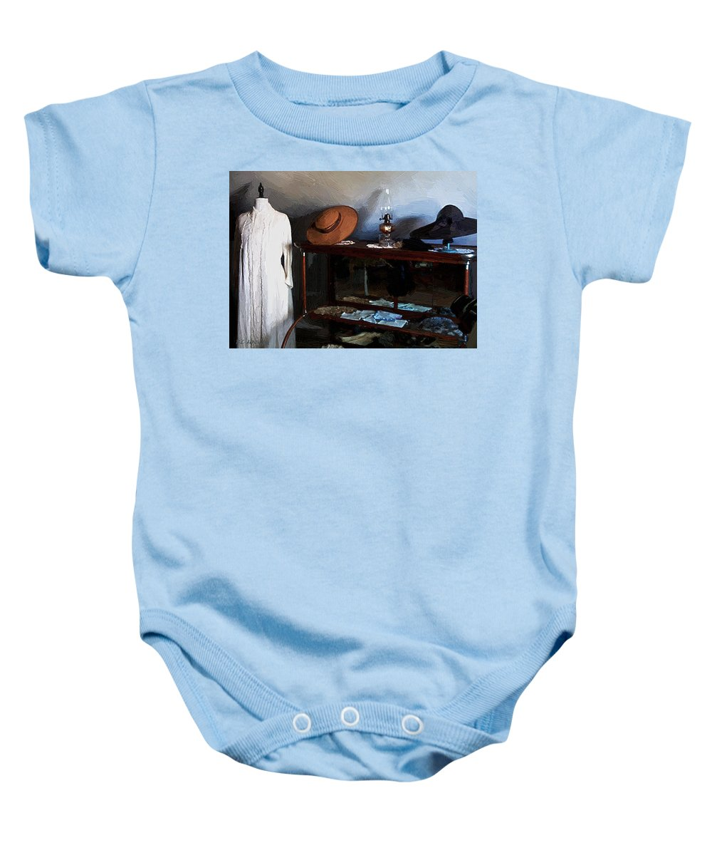 Fashion Baby Onesie featuring the painting Milady's Finery by RC DeWinter
