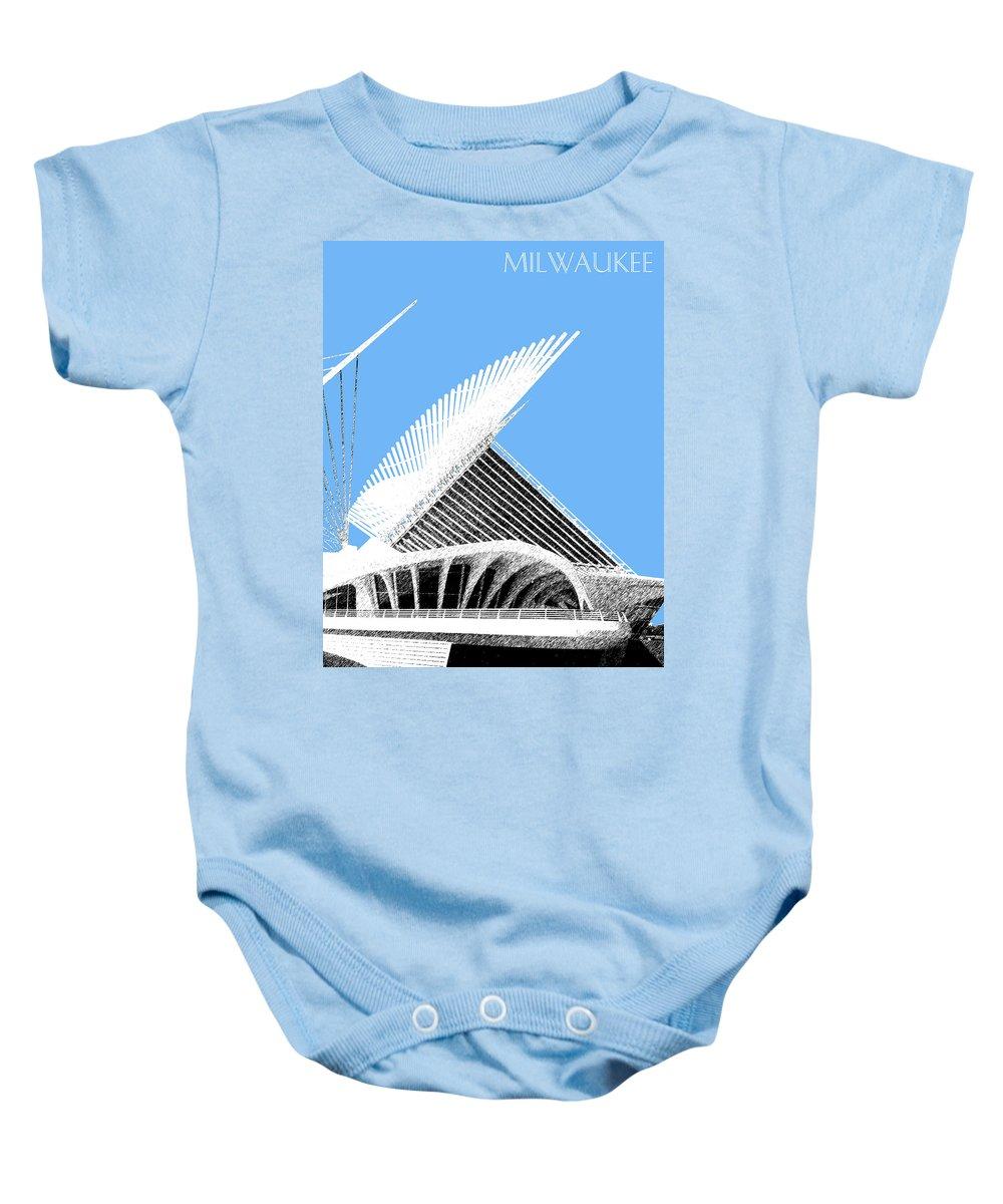 Architecture Baby Onesie featuring the digital art Milwaukee Skyline Art Museum - Light Blue by DB Artist