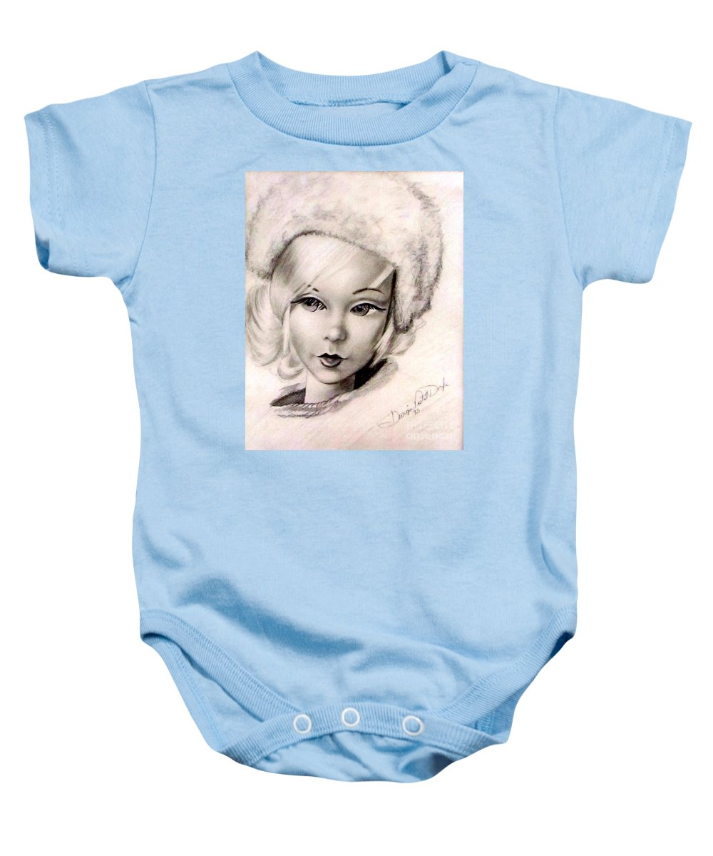 Art Baby Onesie featuring the drawing Mod Talker Barbie by Georgia's Art Brush