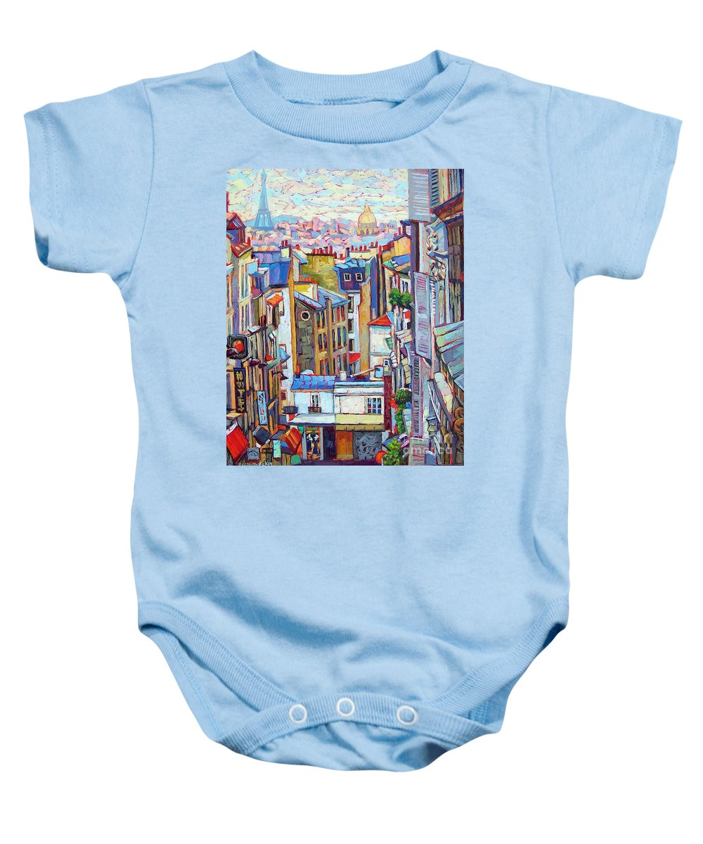 Cityscape Baby Onesie featuring the painting Montmartre View by Elizabeth Elkin