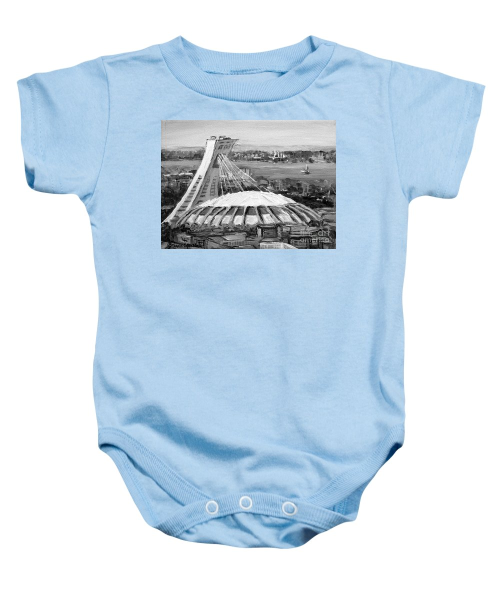 Noir Et Blanc Baby Onesie featuring the painting Montreal Olympic Stadium And Olympic Park-home To Biodome And Velodrome-montreal In Black And White by Carole Spandau