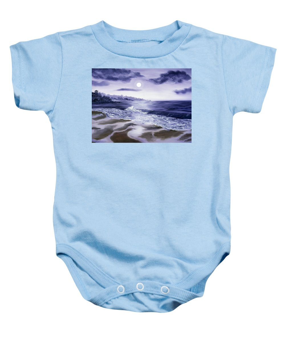 California Baby Onesie featuring the painting Moonlight Sonata Over Carmel by Laura Iverson