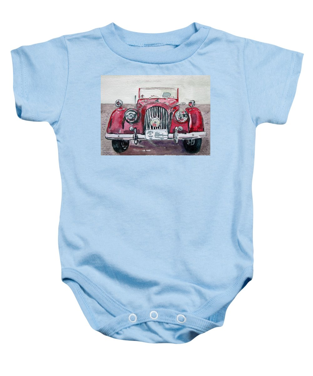 British Vintage Baby Onesie featuring the painting Morgan by Anna Ruzsan