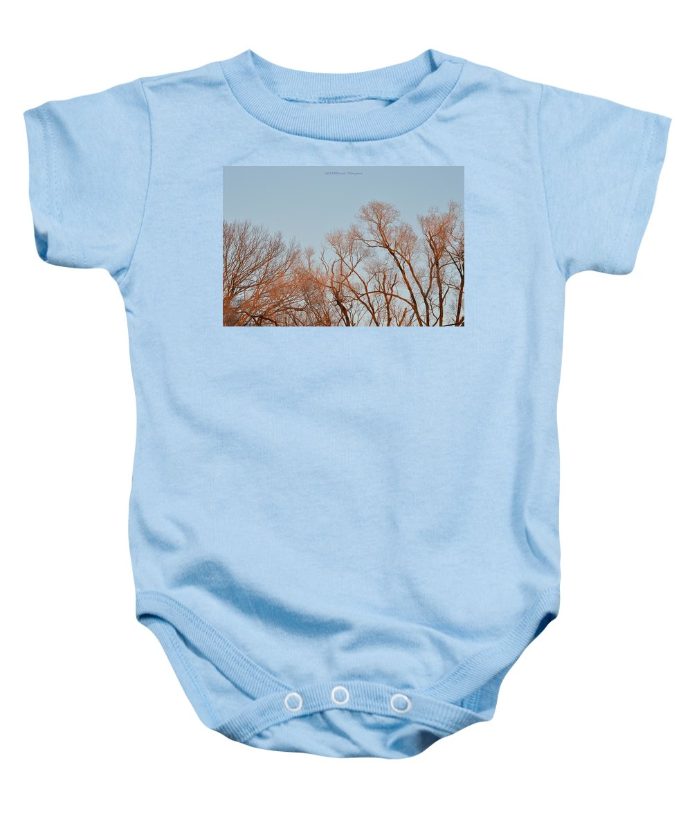 Morning Coloured In Fall Baby Onesie featuring the photograph Morning Coloured In Fall by Sonali Gangane