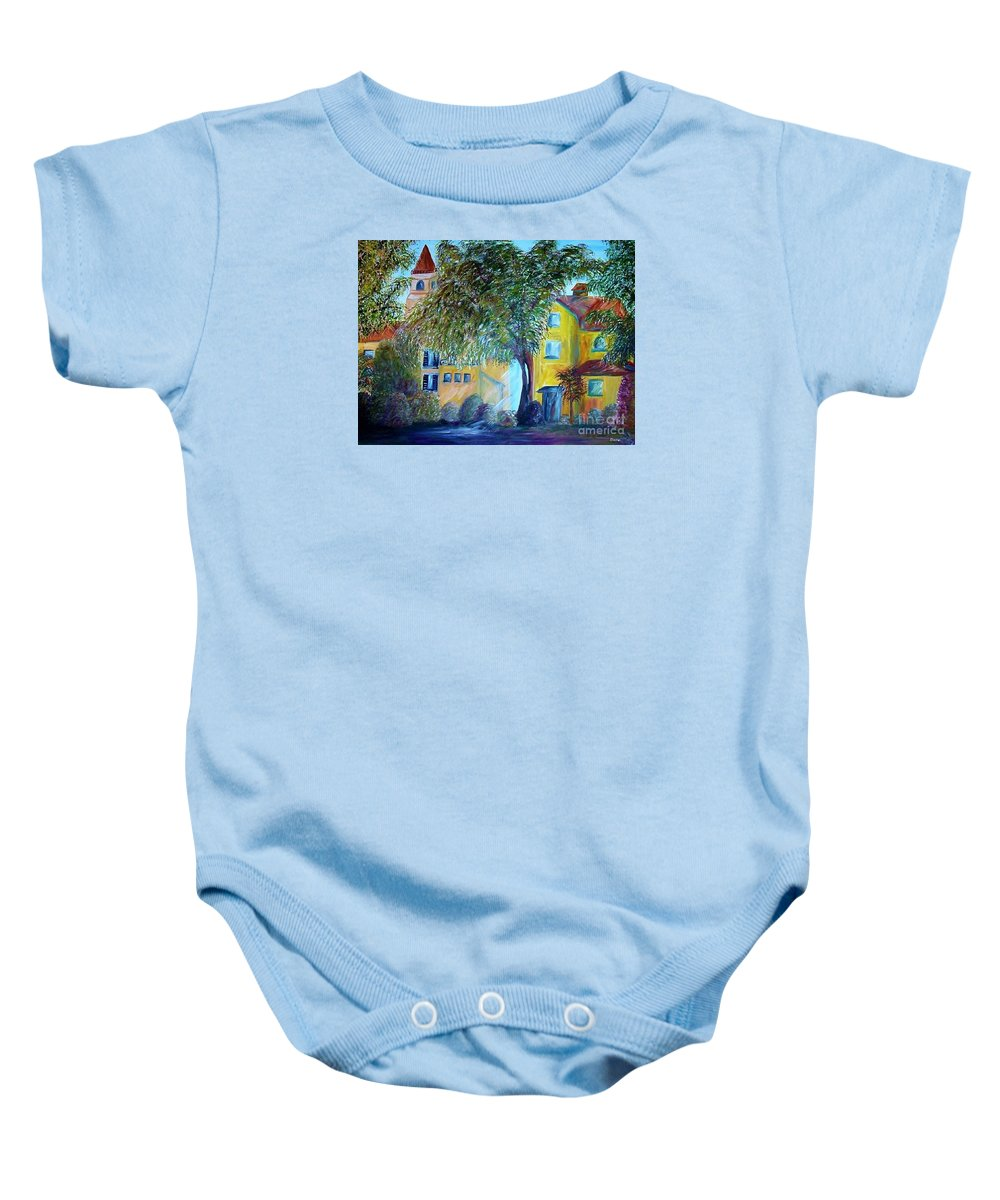 Tuscan Baby Onesie featuring the painting Morning In Tuscany by Eloise Schneider Mote