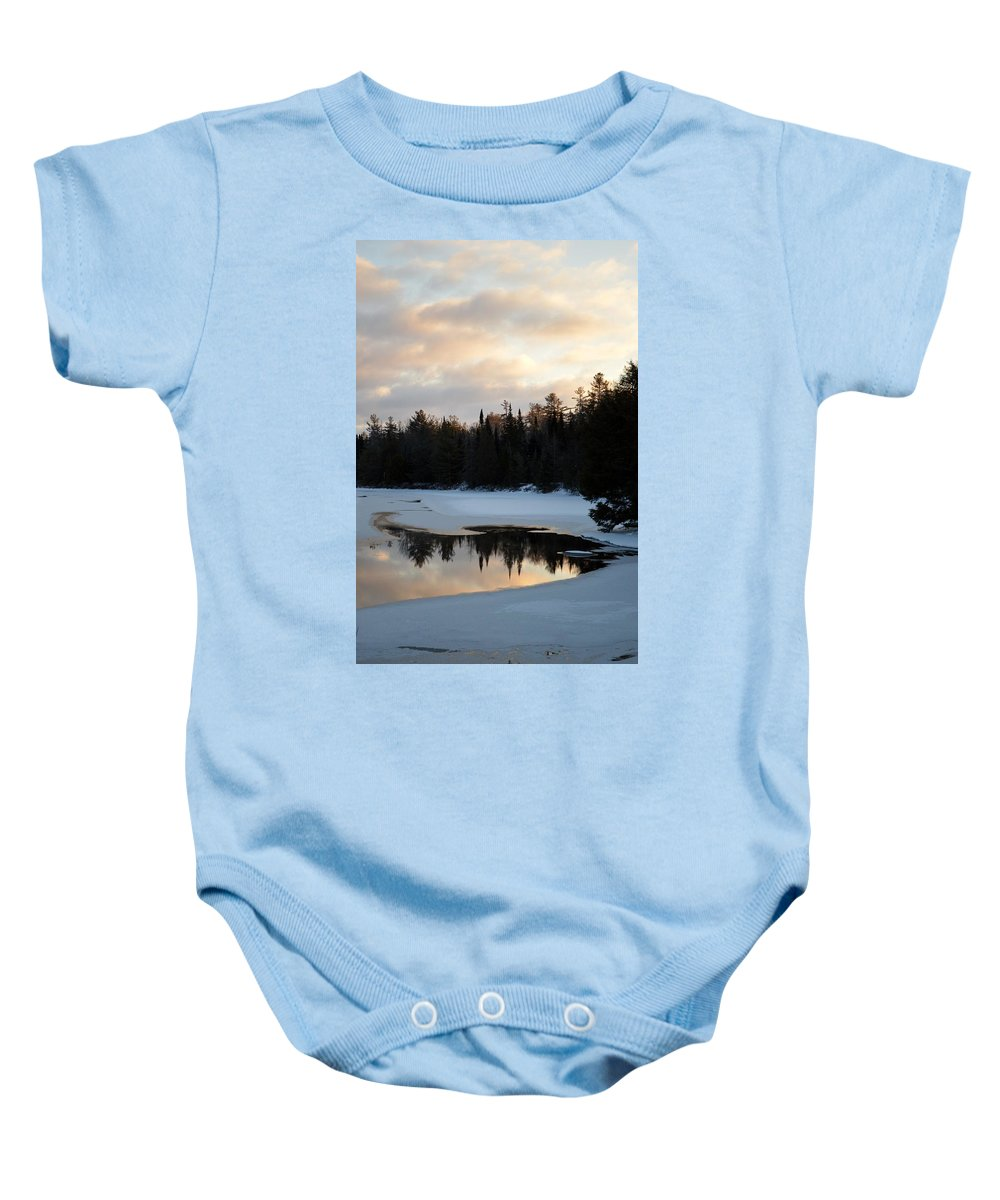 Clouds Baby Onesie featuring the photograph Morning Stillness by Thomas Phillips