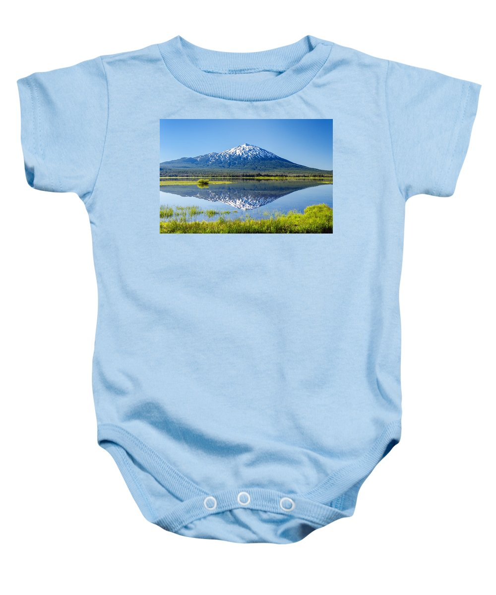 Mountain Baby Onesie featuring the photograph Mount Bachelor Reflection by Jess Kraft