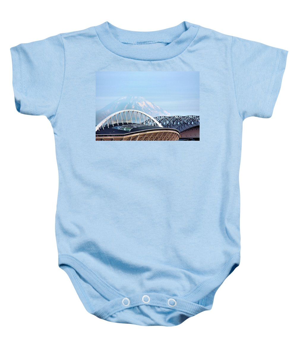 Mount Rainier Baby Onesie featuring the photograph Mount Rainier Backdrop by Kristin Elmquist