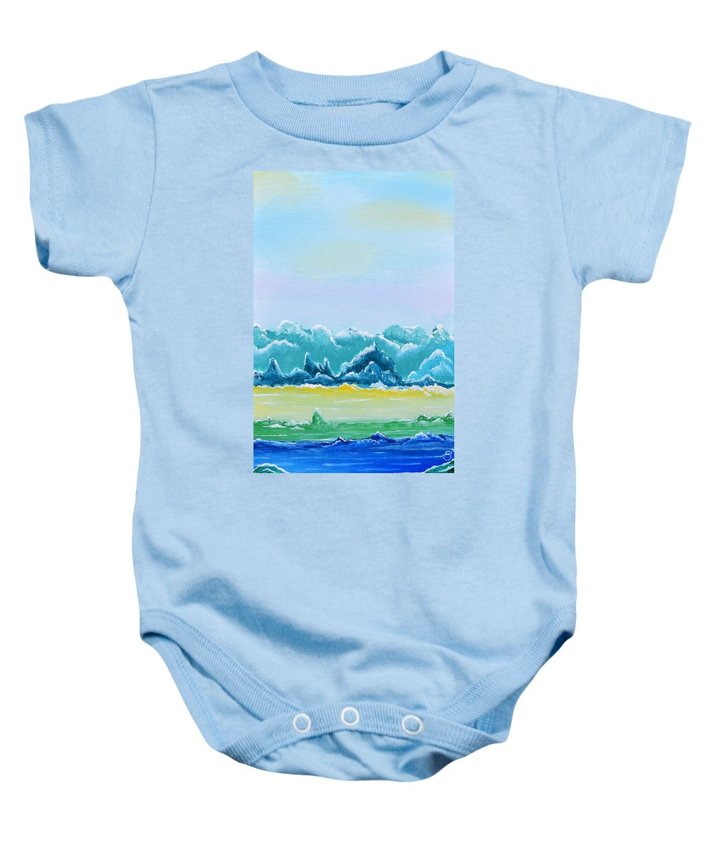 Acrylic Painting Baby Onesie featuring the painting Mountain Range by Sherry Allen