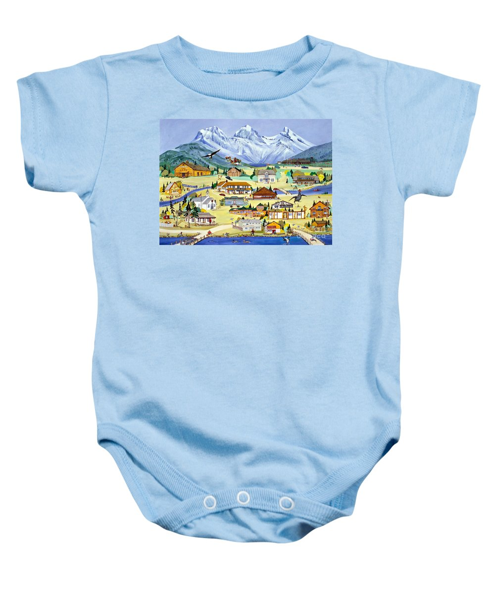 Canmore Baby Onesie featuring the painting Mountain Town Of Canmore by Virginia Ann Hemingson