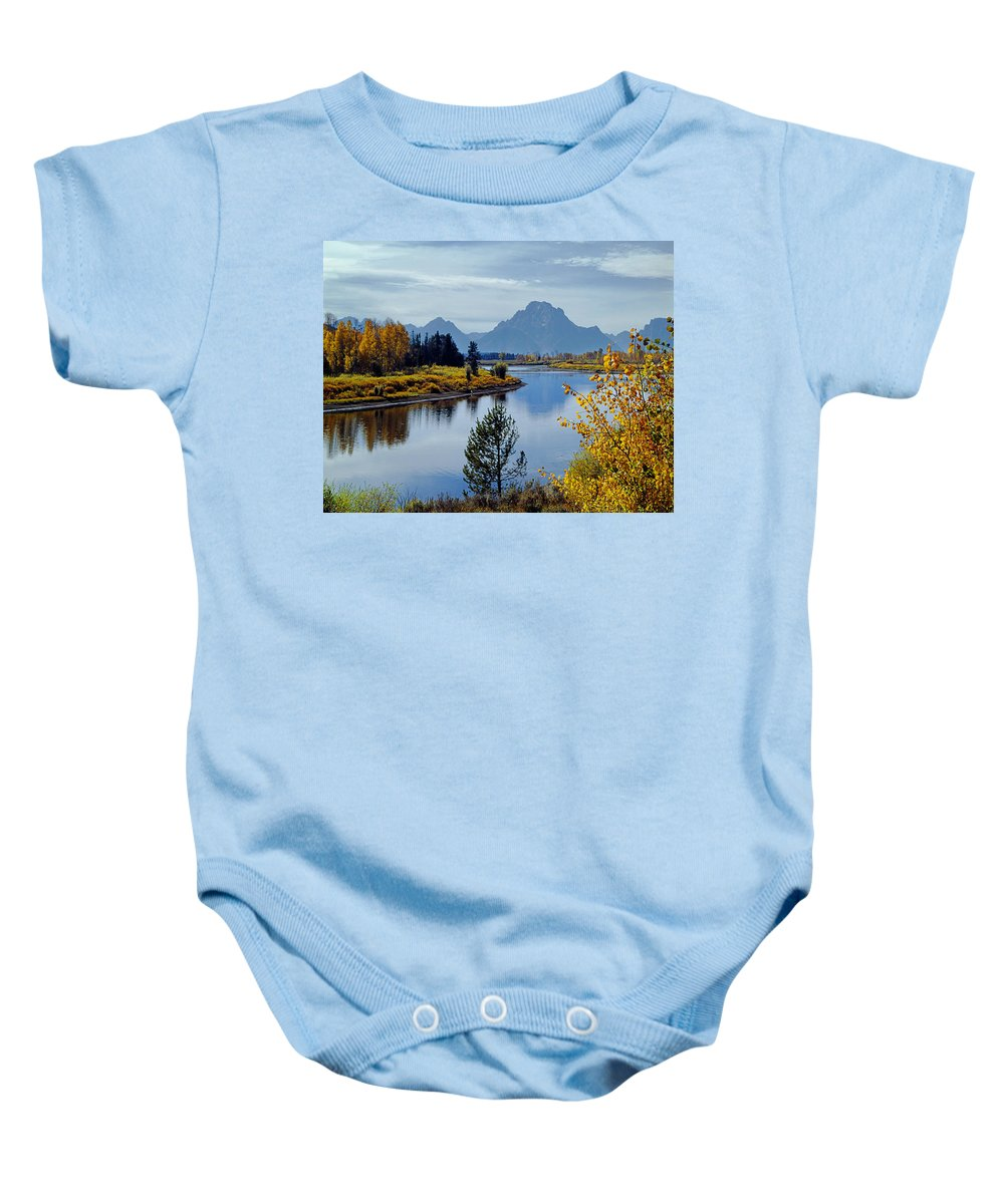 Mt. Moran Baby Onesie featuring the photograph 1m9208-mt. Moran And The Snake River, Wy by Ed Cooper Photography