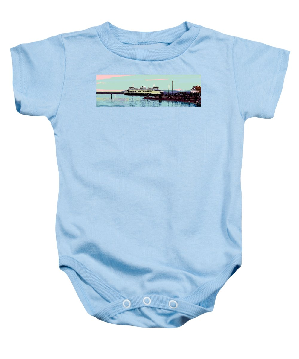 Abstract Baby Onesie featuring the digital art Mukilteo Clinton Ferry Panel 3 Of 3 by James Kramer