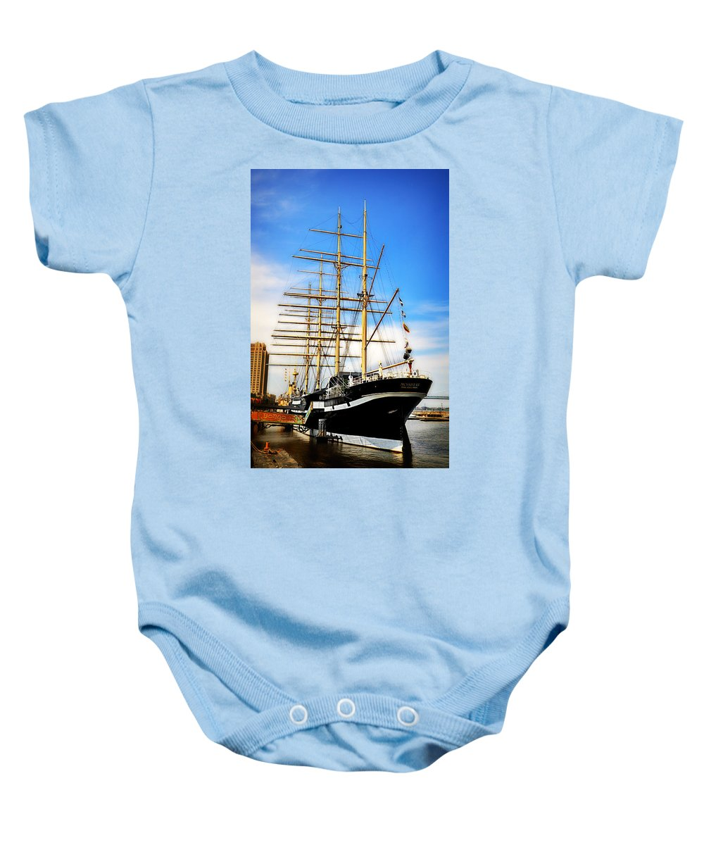 Mushulu Baby Onesie featuring the photograph Mushulu At Penns Landing by Bill Cannon