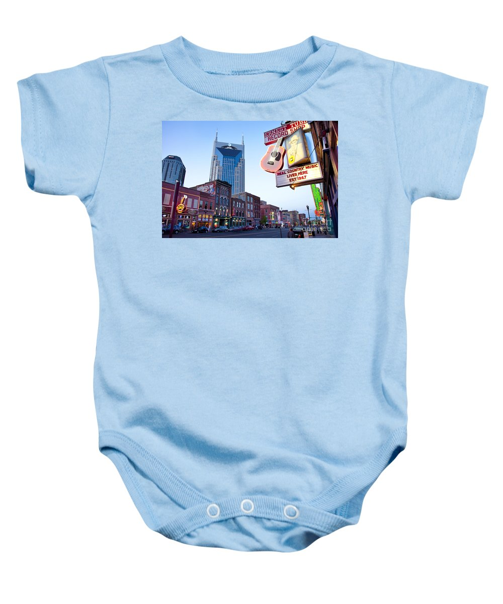 At&t Baby Onesie featuring the photograph Music City Usa by Brian Jannsen