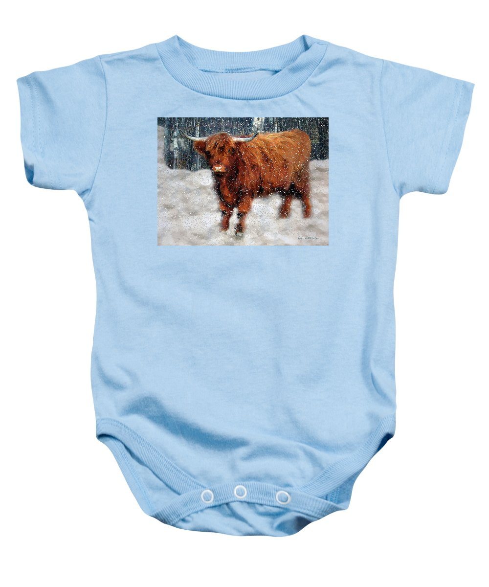 Bull Baby Onesie featuring the painting My Feets Are Cold by RC DeWinter