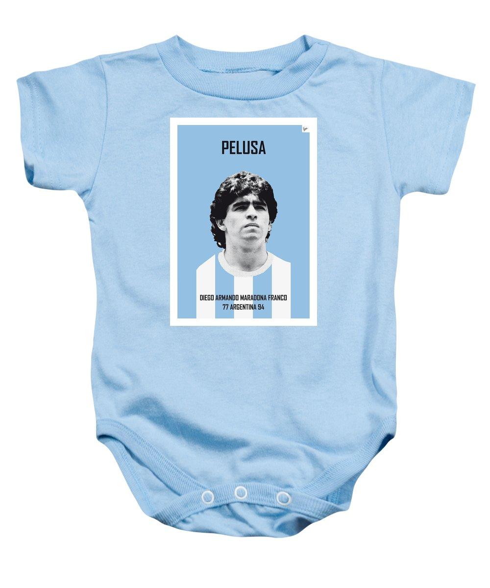 Beckenbauer Baby Onesie featuring the digital art My Maradona Soccer Legend Poster by Chungkong Art