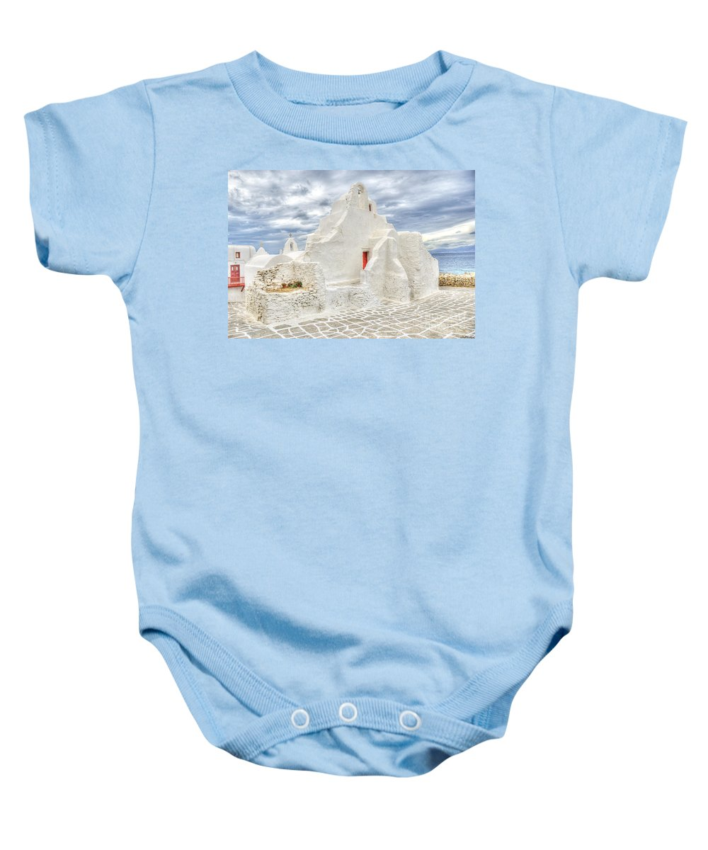 Mykonos Baby Onesie featuring the photograph Mykonos Church by Paul and Helen Woodford