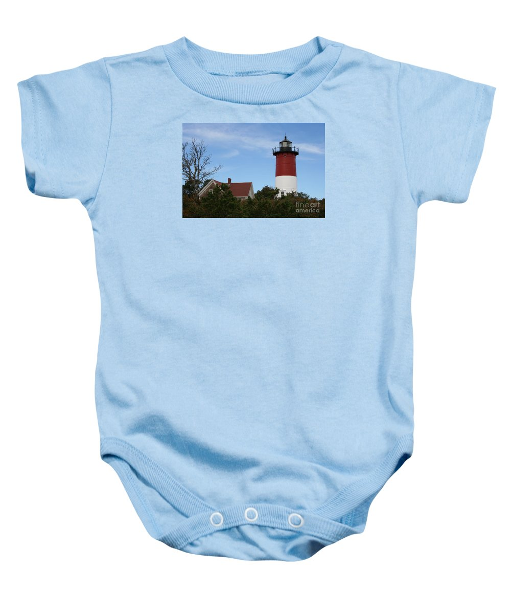 Lighthouse Baby Onesie featuring the photograph Nauset Beach Light by Christiane Schulze Art And Photography