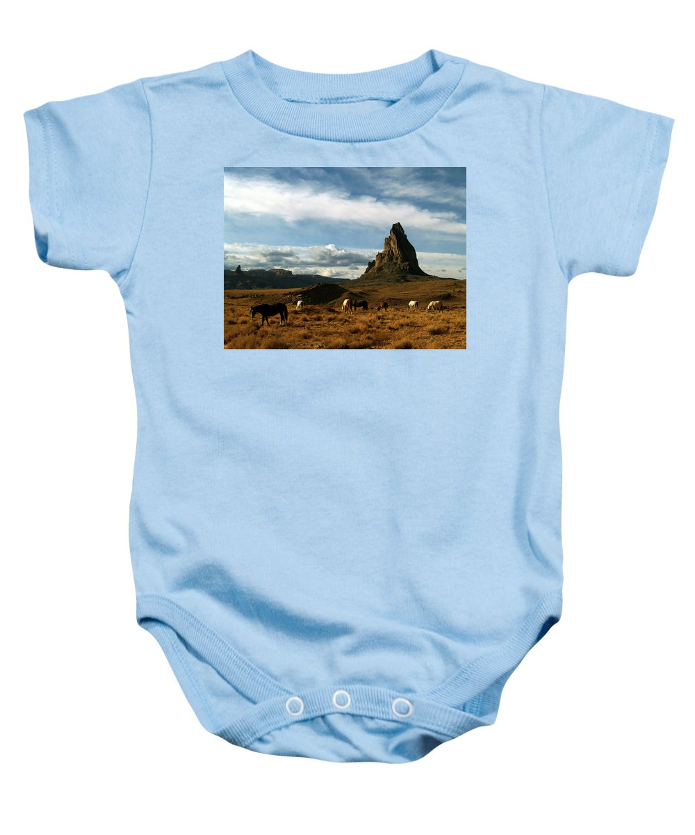 Landscapes Baby Onesie featuring the photograph Navajo Horses At El Capitan by Jeff Brunton