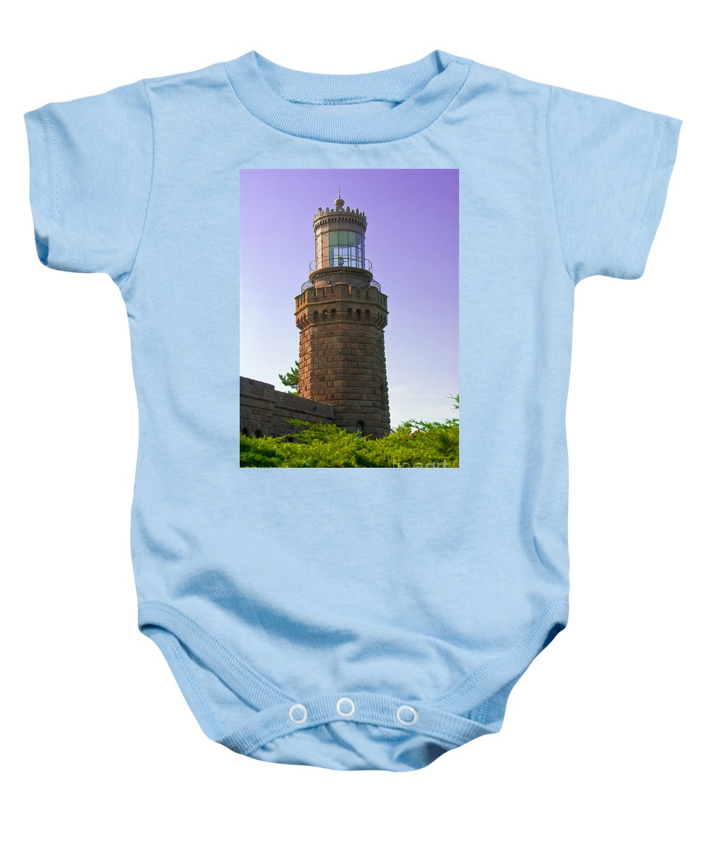Lighthouses Baby Onesie featuring the photograph Navesink Twin Lights Lighthouse by Anthony Sacco