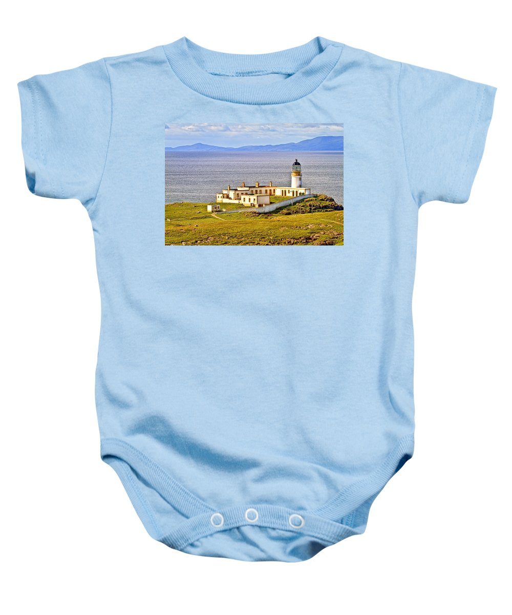 Landscape Baby Onesie featuring the photograph Neist Point Lighthouse Isle Of Skye by Marcia Colelli