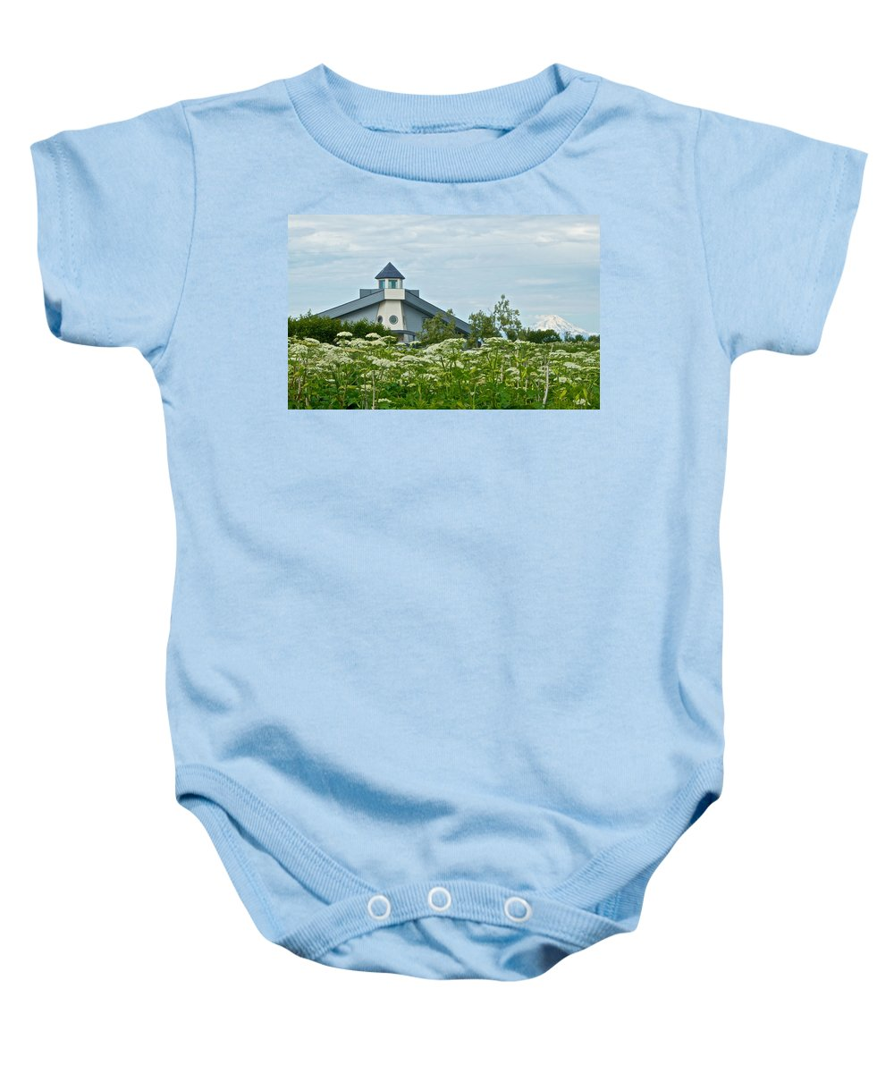 New Church Baby Onesie featuring the photograph New Church In Ninilchik-ak by Ruth Hager