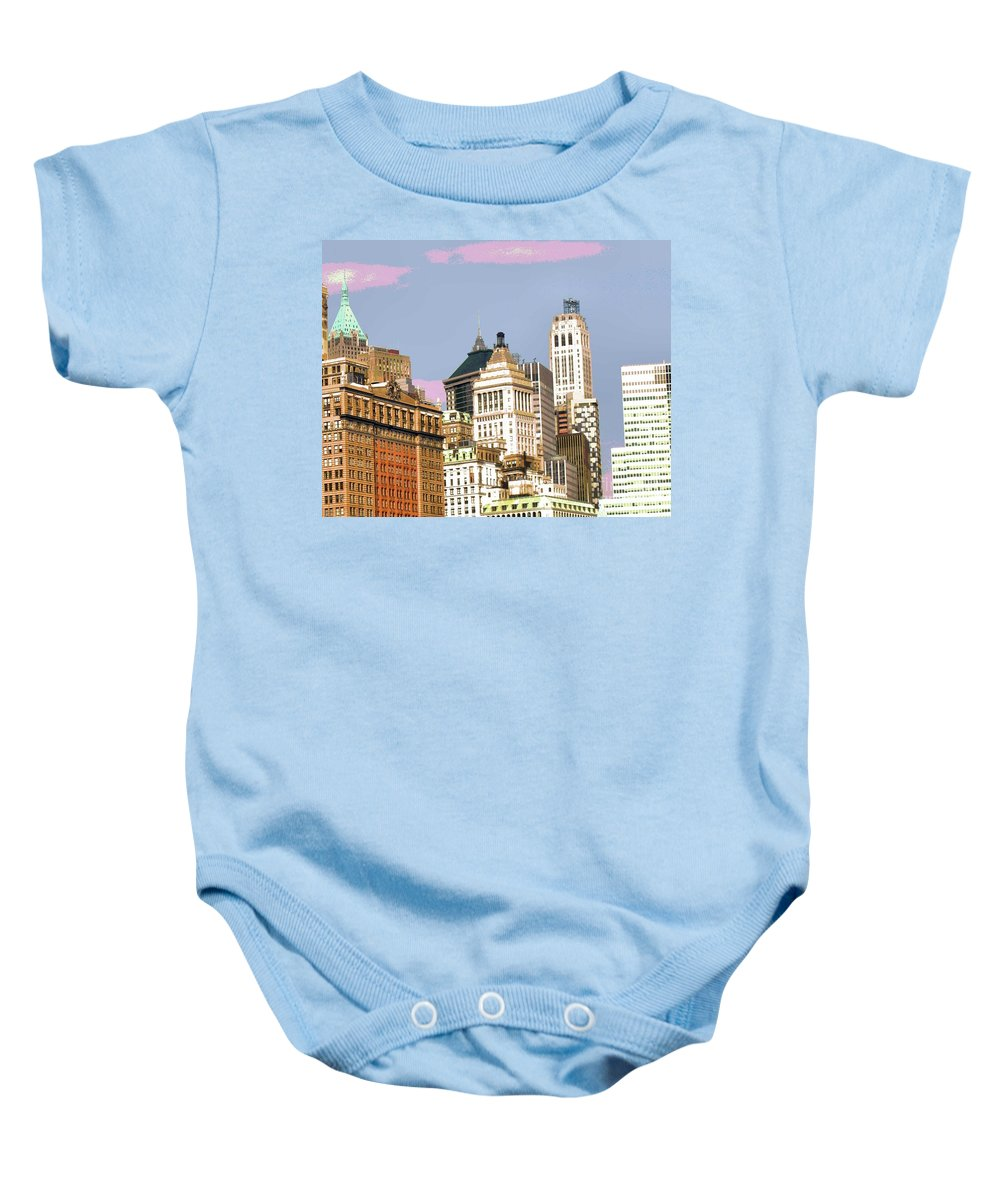 New York Baby Onesie featuring the photograph New York City Skyline by Luther Fine Art